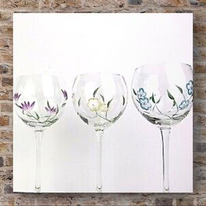 LENOX etched painted floral balloon wine glasses